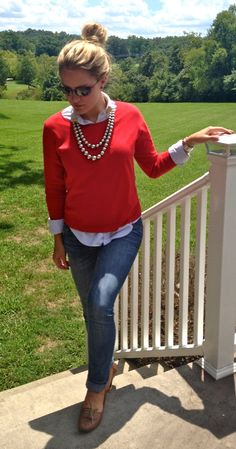 red sweater outfit - Google 検索 赤 style styling coordinate ニット トップス コーデ コーディネート red knit tops outfit
