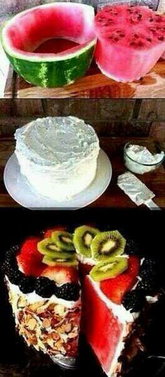 Ok watermelon cool whip  and fruit, and some almonds   try it.
