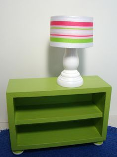 Barbie Furniture - White Table Lamp w Drum Lampshade in Pink and Green Stripe Fabric - (from the Baylee Collection)