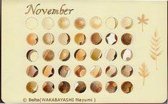 2013_11_calendar November calendar.  for this drawing I used: Faber castell polychromos Moleskine sketchbook   © Belta(WAKABAYASHI Mayumi )