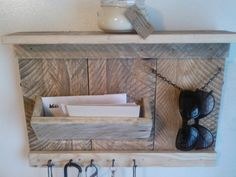 Love the sunglass holder. Rustic Entryway Organizer Mail Storage Key Hooks Entryway Hooks and Shelf