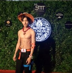 "Changmin (창민) as Ace from the anime ""One Piece"" for SM's Halloween party."