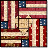 Flag and Heart free quilt block pattern -- uses paper piecing