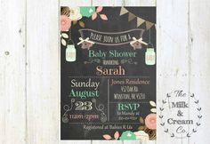 Rustic Shabby Chic Chalkboard Coral and Mint Green Baby Shower Invite, Invitation with flowers and mason jars Simple Casual, Digital File, by themilkandcreamco on Etsy https://www.etsy.com/listing/241310555/rustic-shabby-chic-chalkboard-coral-and