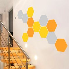 12 Honeycomb Wall Decal Geometric Hexagons Vinyl Wall Stickers Room Art Home Decor Three Color Combinations Each Size 24 x 28 cm