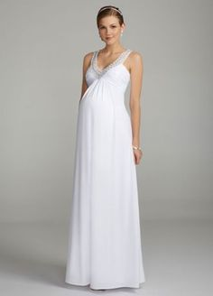 This gorgeous jersey beaded dress is comfortable but will not sacrifice style on your special day!  Maternity long ruched jeresey dress features sparkling beaded mesh neckline.  Empire waist creates a flattering silhouette.  Fully lined. Back zip. Imported polyester. Dry clean only.