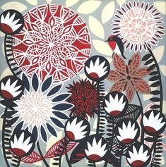 Helen Ansell Pattern Art, Print Patterns, Contemporary Decorative Art, Australian Flowers, Large Canvas Prints, Naive Art, Gouache Painting, Australian Artists, Textiles
