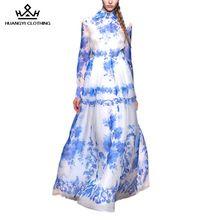 2016 Outono das Mulheres Cheio da Luva do Assoalho-Comprimento Vestidos Prient Turn-Down Collar Runway Passarela Vestido Azul Do Vintage(China (Mainland))