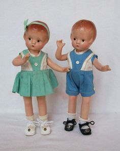 Effanbee Patsyette boy and girl twins, all composition, original clothes