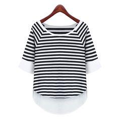#aliexpress, #fashion, #outfit, #apparel, #shoes 2015, #Womens, #Striped, #Casual, #Loose, #Summer, #Shorts, #Blouse, #Plain, #Basic, #Shirt, #T-Shirt, #1839 http://s.click.aliexpress.com/e/rnaEyjaYf