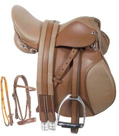 All Purpose AP 16 17 18 Tan English Horse Leather Saddle Bridle Irons Girth