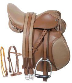 All Purpose AP 16 17 18 Tan English Horse Leather Saddle Bridle Irons Girth