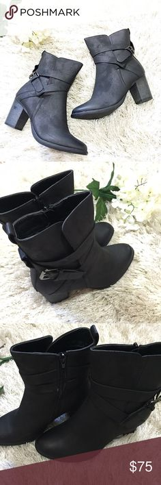 """Black Bootie Black Bootie size 8 with almond toe with wraparound strap buckle accents. Size zip closure on inside of Bootie. 9"""" shaft with 3"""" heel. Feel free to ask questions! Shoes Ankle Boots & Booties"""