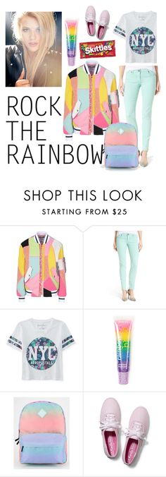 """Rock the rainbow"" by starspy ❤ liked on Polyvore featuring Moschino, KUT from the Kloth, Aéropostale, claire's, Vans, Keds and RockTheRainbow"