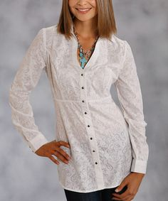 Take a look at this Roper White Scroll Sheer Button-Up Top - Women by Roper & Ryan Micheals on #zulily today!
