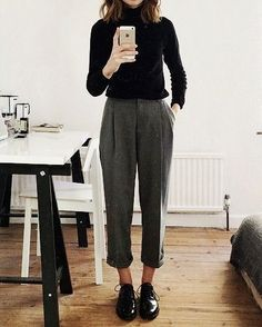 Wool high waisted pants