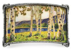 AN ART NOUVEAU OPAL, ENAMEL AND DIAMOND DOG COLLAR PLAQUE, BY KOCH   Designed as a rectangular panel depicting a spring landscape of white and brown enamel birch trees and green enamel grass with floral detail, with a blue enamel lake and purple enamel mountains in the distance, set against an opal sky, within a rose-cut diamond surround, mounted in silver-topped gold, circa 1900