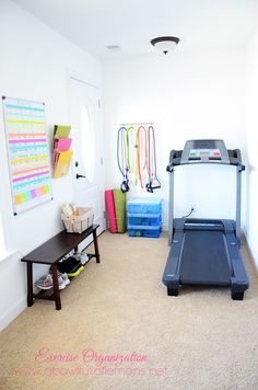 How to set up an Exercise Room Organizing - by A Bowl Full of Lemons sourced by ~ @MargaritaIbbott ~ @Margarita Ibbott ~ @DownshiftingPRO