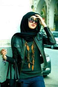scarf and leather jacket.