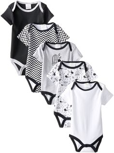 I really wasn't sure about the singing birds on these onsies - I mostly just bought it for the black and white chevron. The two onsies with the brids are 0-3M and the solid colors are 3-6M -------------Amazon.com: BabyGear Baby-Girls Newborn Girls 5 Pack Grow with Me Bodysuits Bird, Heath, 0-3 Months: Clothing