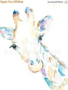FALL SALE Giraffe Watercolor Print Print of by JessBuhmanArt