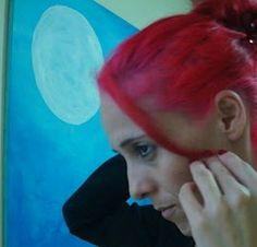 Eu de cabelo rosa ...