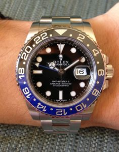 new Rolex GMT Master II with blue/black Cerachrom bezel. One of my favorite modern Rolexes with a much needed update to the blue/red bezel of years past. This bezel is like night over the ocean. Dream Watches, Sport Watches, Luxury Watches, Cool Watches, Rolex Watches, Watches For Men, Rolex Batman, Gmt Batman, Rolex Gmt Master 2