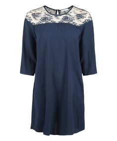 Loving this Devoted by Dex Midnight Blue Lace-Accent Three-Quarter Sleeve Dress on #zulily! #zulilyfinds
