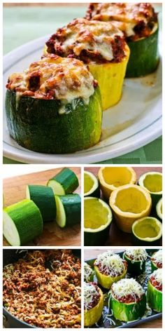Recipe for Meat, Tomato, and Mozzarella Stuffed Zucchini Cups, making them into cups like this is a great use for those monster zucchini that show up in the fall when the garden is winding down! [from KalynsKitchen.com] #LowCarb #GlutenFree #ZucchiniRecipe