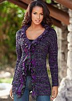 Purple Ruffle Trim Cardigan