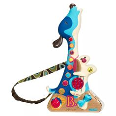 Boost your child's love for music with the B. Woofer Hound Dog Guitar from B. Quirky and colorful, it plays 20 familiar songs and nine doggie ditties. This kids' guitar toy has realistic strings, so your little one can strum to his heart's content.