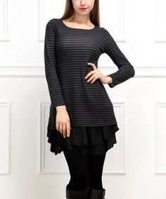 This Charcoal & Black Stripe Ruffle-Hem Tunic by Reborn Collection is perfect! #zulilyfinds
