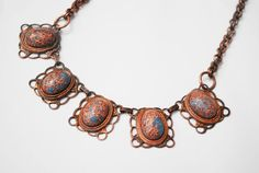 Copper Goldstone Necklace -Mid Century - Confetti Lucite -Link Necklace