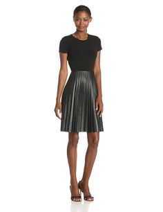 Short-Sleeve Pleated-Skirt Dress by Calvin Klein