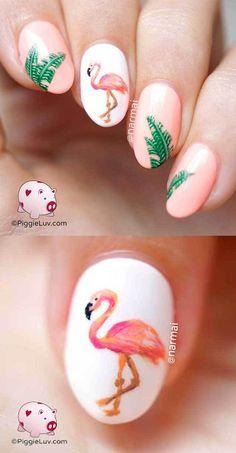 Creative Nail Art Ideas Hot Flamin Flamingo Nail Art