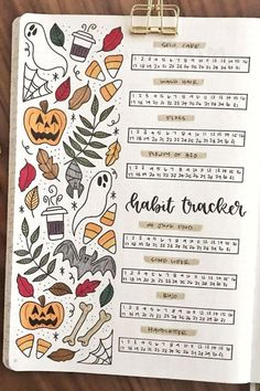 october bullet journal If you're setting up your Fall bullet journal spreads, you need to check out these super cute October habit tracker ideas for inspiration! Bullet Journal Cover Ideas, Bullet Journal October, Bullet Journal Tracker, Bullet Journal Notebook, Bullet Journal Headers, Bullet Journal Themes, Bullet Journal Spread, Bullet Journal Layout, Journal Covers