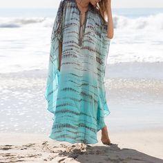 Bohemian Striped Printed Kaftan Beach Dress Plus Size Women Summer Beachwear Lace Up Side Split Maxi Dress Robe Plage Size One Size Color Bikini Cover Up, Swimsuit Cover Ups, Vacation Dresses, Beach Dresses, Vacation Wear, Mexico Vacation, Chiffon Cover Up, Long Kaftan, Striped Maxi Dresses