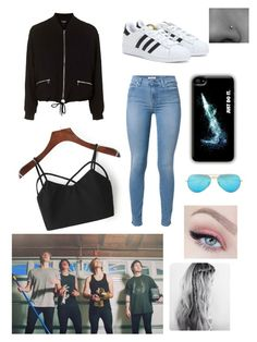 """""""She's kinda hot ..."""" by farah-future-malik on Polyvore featuring 7 For All Mankind, Topshop, adidas, NIKE and Ray-Ban"""