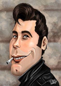John Travolta as Danny Zuko in #grease - caricature by Ribosio.