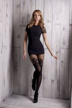 Sexy black dress with printed pantyhose Tight Dresses, Sexy Dresses, Short Dresses, Shiny Pantyhose, Pantyhose Fashion, Fashion Tights, Nylons, Bas Sexy, Femmes Les Plus Sexy