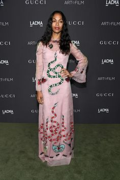 Actress Zoe Saldana, wearing Gucci, attends the 2016 LACMA Art + Film Gala honoring Robert Irwin and Kathryn Bigelow presented by Gucci at LACMA on October 29, 2016 in Los Angeles, California.