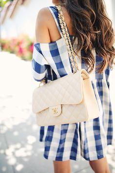 Chanel classic flap bag in beige