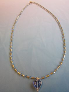 Blue and Gold WireWrapped Glass Bead by BeadazzlingButterfly, $19.00