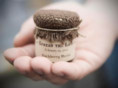 Speaking of favors, we adore these Farm House Jam Favors with Burlap Covers ($3 each).