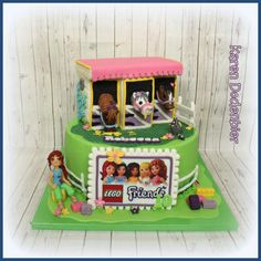 LEGO Friends with horses! The little Lego friends girl was tiny but it turned out fairly wel! Lego Friends Cake, Lego Friends Birthday, Lego Friends Party, Lego Birthday Party, 6th Birthday Parties, Birthday Cakes, Birthday Ideas, Lego Food, Horse Cake