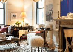 Interiors from Designer Brian J. McCarthy - The northwest corner of McCarthy's living room overlooks Central Park.