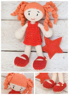 Crochet doll Gift for girl Kids soft toy Red-haired doll toy Ready to ...