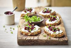 Beetroot and Goat's Cheese Crostini: A loved flavour combination, our Beetroot and Goats Cheese Crostini packs a punch. With creamy textures and earthy flavours, this indulgent yet fresh canapé will be sure to wow your friends and family.