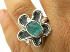 Apatite flower ring sterling silver oxidized by nikiforosnelly $60