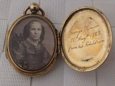 Sweet Victorian mourning locket with photo and inscription, 1863